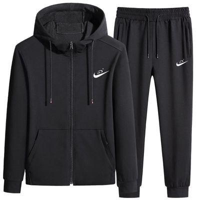 纯棉套装男连帽卫新款衣秋冬季加绒外套休闲运动装跑步开衫两件套