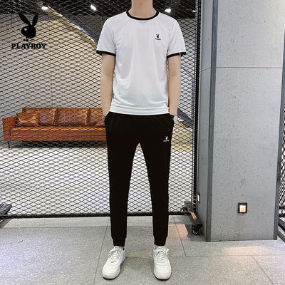 花花公子正品冰丝套装短袖T恤男裤子夏季薄款韩版休闲运动两件套