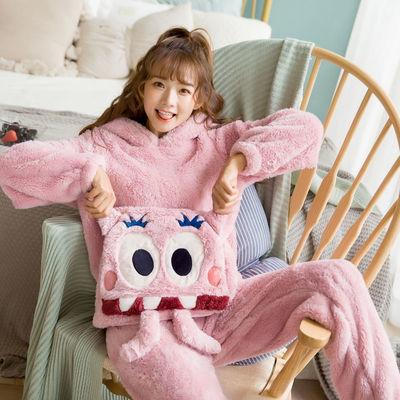 珊瑚绒睡衣女秋冬季学生加厚加绒韩版可爱大码法兰绒保暖连帽套装