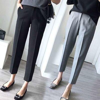 西装裤女春秋季显瘦长款西裤小脚裤子大码职业直筒宽松烟管裤