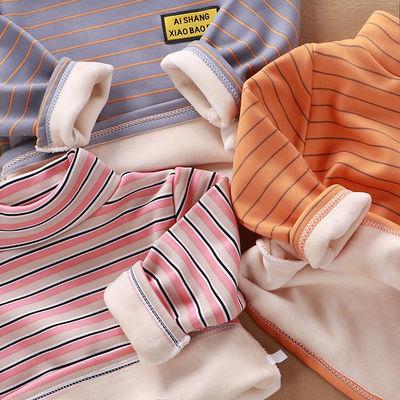 儿童加绒保暖上衣半高领长袖加厚T恤秋冬季男童衣服宝宝女童打底