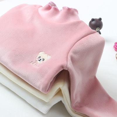 女童加绒打底衫秋冬装儿童保暖上衣女宝宝洋气加厚长袖双面绒卫衣