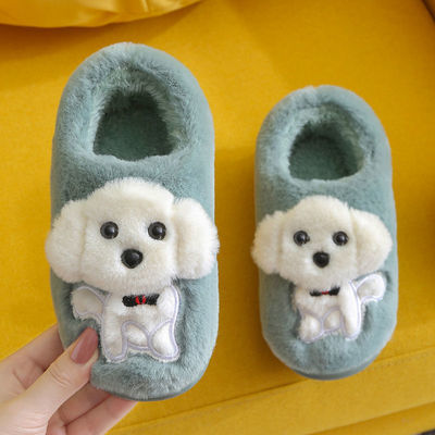 儿童棉鞋秋冬季男女童宝宝卡通软底保暖防滑家居毛绒厚底包跟棉鞋