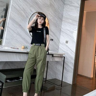 泫雅风套装女夏季帅气超酷个性网红御姐潮军绿色工装裤两件套装女