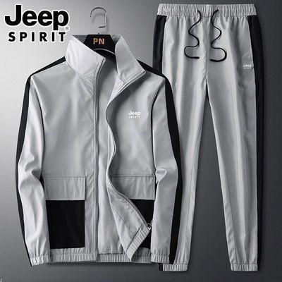 JEEP吉普休闲套装男秋季新款跑步运动衣服两件套工装韩版潮流外套
