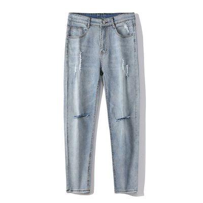 La Chapelle+宽松牛仔裤男士裤子秋季学生韩版潮流破洞直筒休闲裤