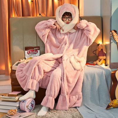 睡衣女冬季可爱加厚睡袍长袍珊瑚绒宽松法兰绒连帽浴袍套装家居服