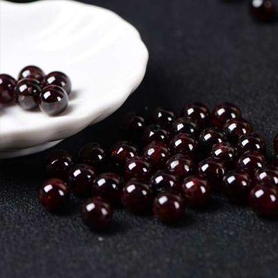 买一送六7A天然酒红石榴石散珠子批发手链女水晶diy半成品饰品