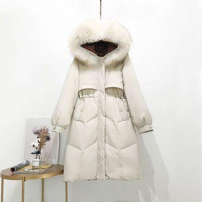 反季貉子大毛领羽绒服女中长款2020新款韩版收腰显瘦时尚百搭加厚