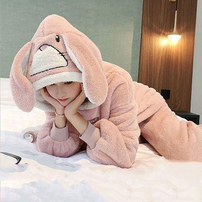 睡衣女冬季加厚珊瑚绒卡通可爱韩版保暖冬天法兰绒连帽套装家居服