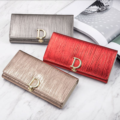 2020新款时尚D扣女士钱包女长款真皮钱夹子女款大容量牛皮手拿包