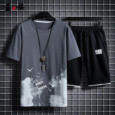 短袖T恤/套装男短裤休闲套装男T恤韩版印花男士两件套运动套装夏