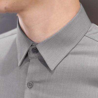 灰色衬衫男长袖秋冬新款潮流韩版休闲寸衫商务修身免烫男士