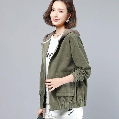 2020秋冬新款女士夹克开衫休闲韩版上衣长袖短款灯芯绒连帽外套女