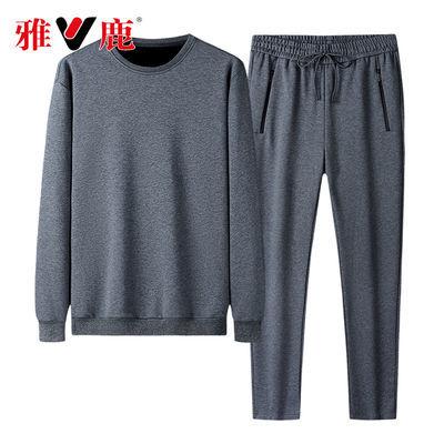雅鹿男士大码纯棉两件套春秋运动长袖直筒裤冬加绒加厚宽松男套装