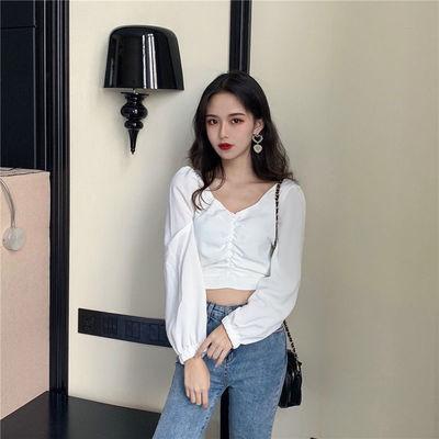 超时尚泡泡袖长短袖衬衫女学生韩版灯笼袖女士百搭衬衣2020秋新款
