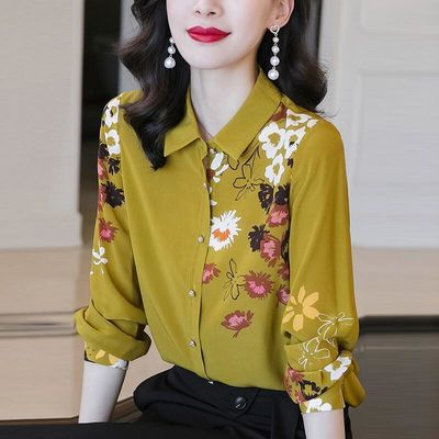 最新款设计感立领雪纺衬衫女长袖港式秋装宽松外穿拼接洋气小众夏