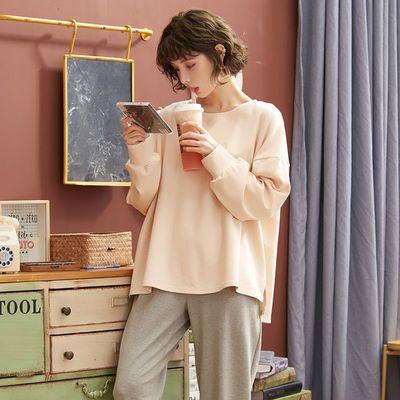 睡衣女秋季长袖精梳棉纯棉学生可爱卡通薄款家居服两件套装可外穿