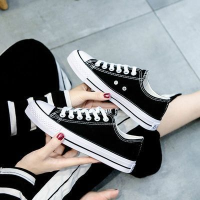 低帮帆布鞋女学生2020新款韩版休闲平底板鞋原宿ins网红单鞋百搭