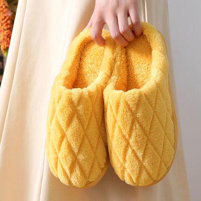 70524/家居棉拖鞋女秋冬季侧缝室内防滑厚底保暖毛绒男士家用可爱月子鞋