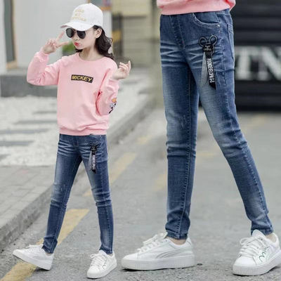 女童弹力牛仔裤夏秋新款12岁时髦小女孩霸气中大儿童小脚裤子洋气
