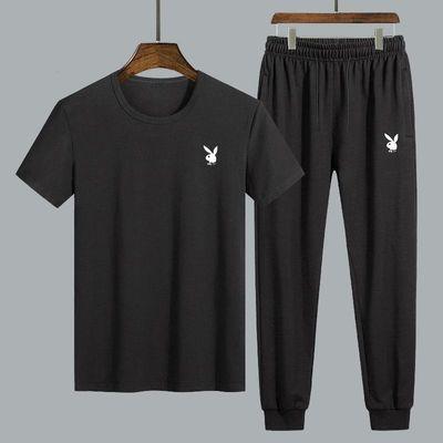 花花公子贵宾冰丝休闲套装男士运动服夏季长裤短袖T恤大码两件套