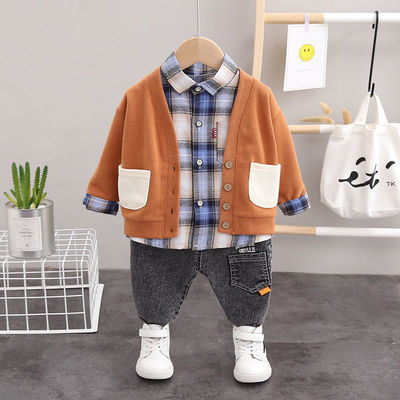 新款男宝宝帅气套装春季男童针织衫春秋季小童装婴儿童洋气三件
