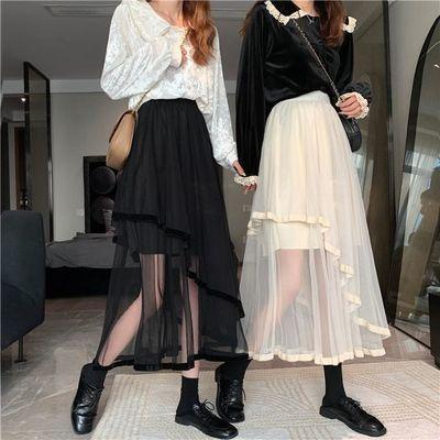14025/2021春季新款蛋糕裙网纱裙不规则拼接蓬蓬裙中长款半身裙