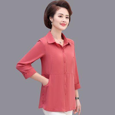 17360/妈妈装春装衬衫九分袖打底衫中老年女装衬衣中年妇女夏装薄款上衣
