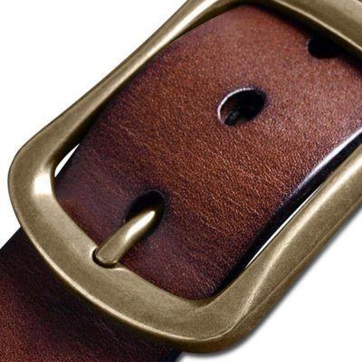 14888/纯牛皮腰带真牛皮男士皮带铜扣裤带真皮休闲针扣皮带复古牛皮当家
