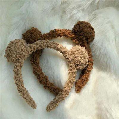 韩国卖萌可爱羊羔毛小熊耳朵球球发箍糖果色毛绒发圈头箍发饰头饰