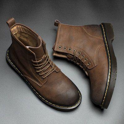 欧洲站秋冬季新款真皮马丁靴男中高帮防滑工装靴男士百搭沙漠靴子