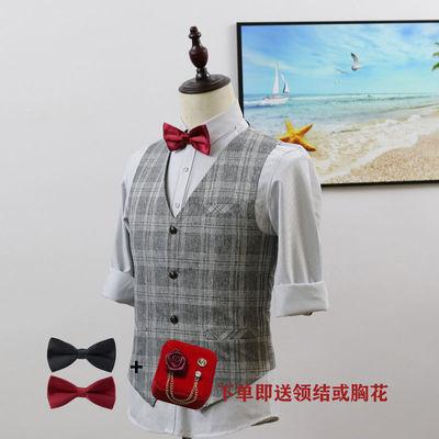 英伦韩版时尚男士休闲马甲修身正装商务工作服理发师伴郎格子马夹