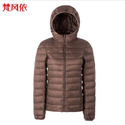 梵风依品牌羽绒服保暖衣女薄款中老年外套90%白鸭绒短款连帽大码
