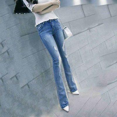 2020新款低腰牛仔裤女修身显瘦休闲韩版学生百搭阔腿弹力喇叭裤
