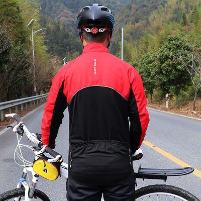 骑行服长袖男秋冬抓绒保暖防风防泼水外套反光山地自行车休闲上衣