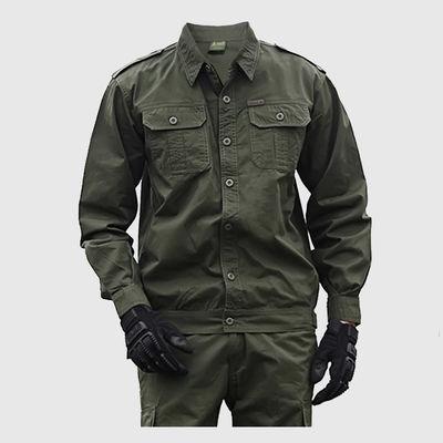 夏季薄款棉线长袖工作服套装男电焊工耐磨军绿色劳保工装建筑工地