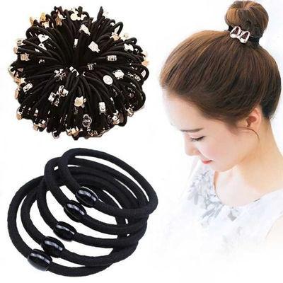 橡皮筋套韩版成人100女生扎可爱简约/发圈头绳头饰品5头发绳黑色