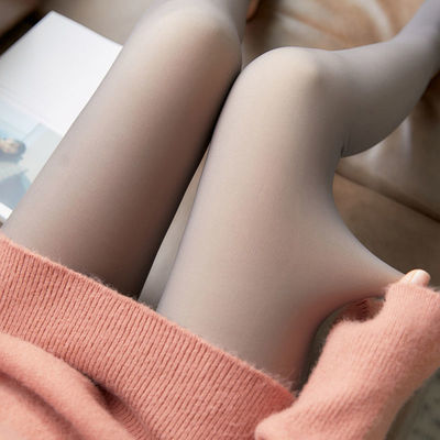 加大码空姐灰假透肉打底裤女无缝丝袜加绒一体透肤薄款无缝连裤袜