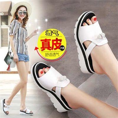 时尚韩版夏季女新款外穿拖鞋女真皮厚底松糕鞋坡跟凉鞋水钻凉拖鞋