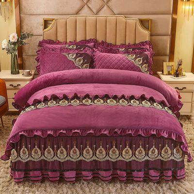 欧式夹棉水晶绒床裙四件套保暖珊瑚绒加厚被套法兰绒床罩床上用品