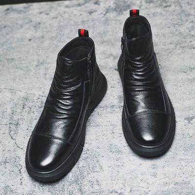 2020秋冬男士皮棉靴子雪地靴加绒男棉鞋四季高帮休闲皮鞋男马丁靴