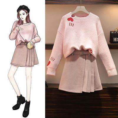 哺乳秋装外出时尚辣妈款秋冬季毛衣半身裙两件套装产后喂奶衣服女