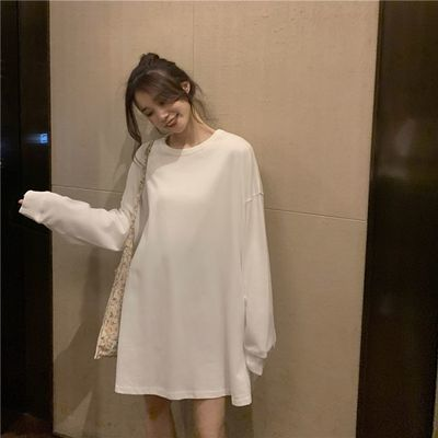 2020春秋季新款纯白色T桖女长袖宽松韩版内搭上衣显瘦女百搭
