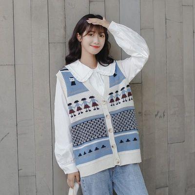 67493/两件套装/单件春秋季日系少女清新风复古外套针织毛衣马甲开衫潮