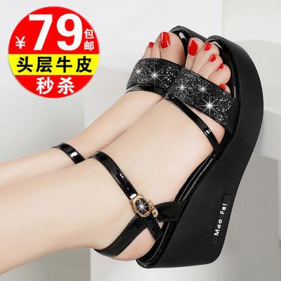 39836/紅晴綖真皮坡跟凉鞋女平底妈妈鞋2021新款夏季高跟厚底松糕鞋女鞋