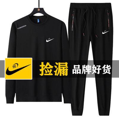 春秋季圆领套头卫衣男士新款时尚简约休闲运动套装跑步两件套大码