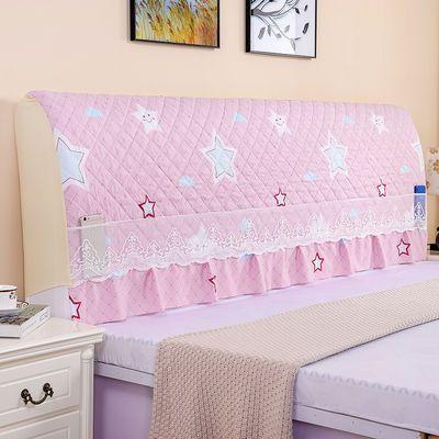 全包夹棉床头罩简约现代实木质床头套软包靠背套床头柜盖巾防尘罩