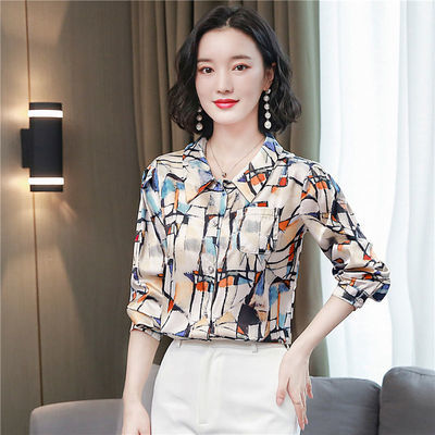 品牌折扣女装2020秋季新款高端仿真丝缎面衬衫女长袖仿桑蚕丝衬衣