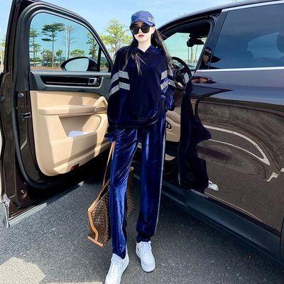 欧洲站金丝绒套装女2020春秋新款时尚洋气慵懒风休闲运动服两件套